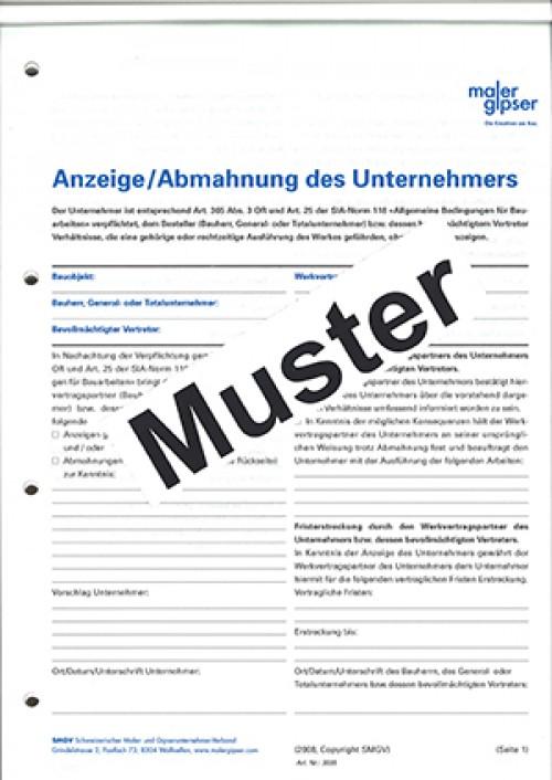 Block Anzeige Und Abmahnung Maler Und Gipser Art 3035 Per Stück